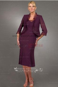 Grape Elegant Knee-Length grandmother of the bride dress cms-043