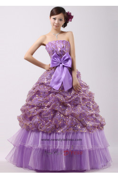 Grape Floor-Length Tiered Ruched Sequins Quinceanera Dresses Waist With bow nq-016