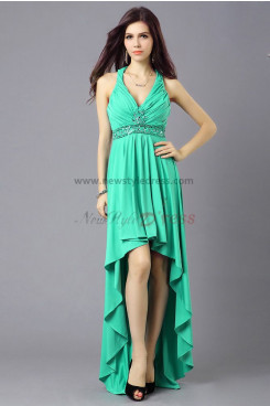 Green High-end Elegant High-low Criss-Cross Straps Party Dresses np-0342