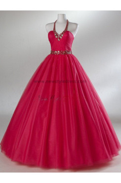Halter A-Line Gorgeous Tulle Hand-beading Elegant Red or Fuchsia Quinceanera Dresses np-0083