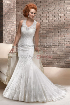 Halter Mermaid lace Sheath Elegant Button wedding dresses with Veil nw-0194