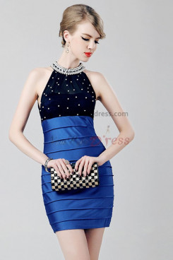 Halter hip package Sexy Hand Beading Royal Blue/red/Champagne Party Dresses nm-0259