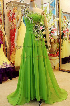 Hand-beading Crystal One Shoulder Gorgeous Chiffon discount Evening Dresses np-0116