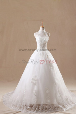 High-end Sweetheart Chest Appliques Chapel Train lace wedding dresses Chest With beading nw-0127