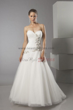 High-low Sweetheart Chest With Glass Drill a-lin wedding dress nw-0204