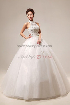 High Collar Ball Gown Organza Chest With Lace Halter Wedding Dresses nw-0070
