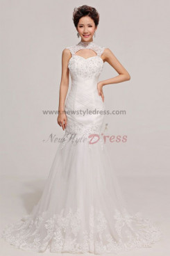 High Collar Mermaid Chapel Train Lace Unique Appliques Wedding Dresses nw-0069