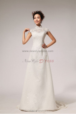 High Collar A-Line Lace Wedding Dresses Chapel Train customize nw-0082