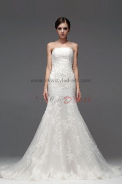 Hot Sale Mermaid Strapless Lace Chapel Train Hand beading Wedding Dresses nw-0226