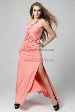 Hot Sale Side slits Oblique band purple/Pink Unique prom dress np-0310