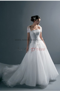 Hot Sale Strapless Chest Appliques Sweep Train Spring wedding dresses nw-0136