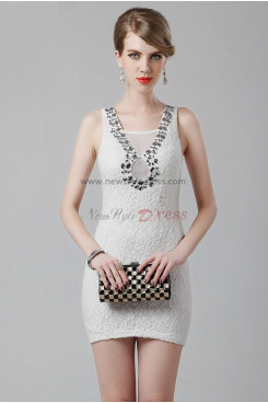 Ivory hip package Sheath Hand Beading sexy Simple Appliques Prom Dresses nm-0251