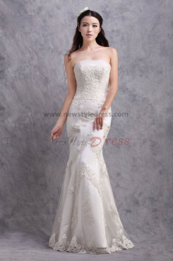 Lace Appliques Sheath Zipper-Up Glamorous under 200 Wedding Dresses nw-0170
