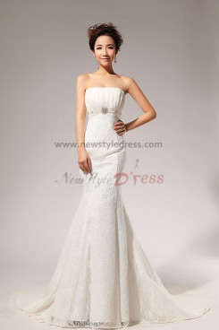 Lace Strapless Empire Mermaid Chapel Train Wedding Dresses nw-0067
