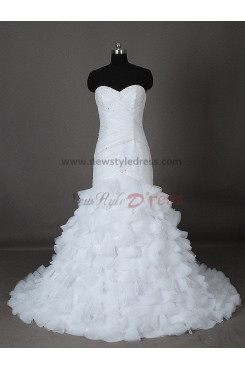 A-Line Elegant Lace Up Tassel Organza Beading Summer Tiered wedding dresses nw-0011