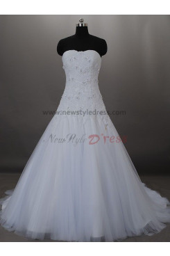 a-line Lace Up Tulle Elegant Beading Sweep Train Princess wedding dresses nw-0009