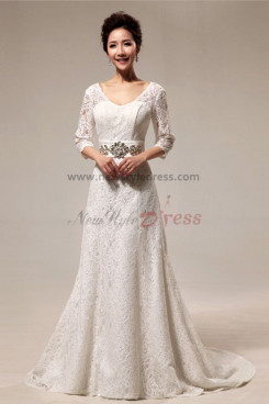 Lace Wedding Dresses With Sleeves Sweep Train Glass Drill Belt nw-0078