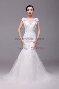 Latest Fashion Glamorous Mermaid lace Wedding Dresses Chapel Train nw-0199