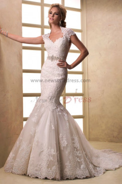 Latest Fashion Mermaid lace Appliques Glamorous Train wedding dresses with Wraps nw-0195