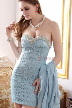 Light Sky Blue disassemble Sexy Sweetheart Luxurious Sheath prom dress nm-0234