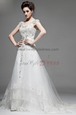 Luxurious Glass Drill Portait Wedding Dresses Spring Fall nw-0101