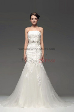 Mermaid High Collar Hand beading Lace Chapel Train Wedding Dresses with Crystal Belt nw-0229