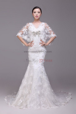 Mermaid Lace Latest Fashion Button Wedding Dresses with flower cape nw-0177