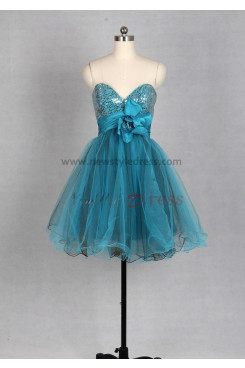 Navy blue Sequined Sweetheart Tulle Waist with a Flowers Above KneeMini Homecoming dresses nm-0013