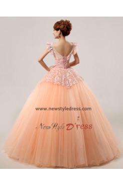 New Arrival Bateau Lace Orange Floor-Length Lace Quinceanera Dresses Cheap nq-011