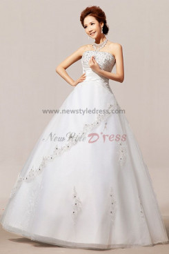 New Arrival Chest Appliques Crystal Sequins Tulle wedding Dresses nw-0061