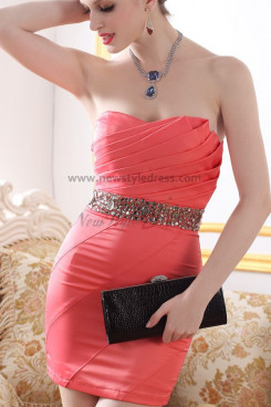 New Arrival Package buttocks red Strapless Beading Cocktail Dresses nm-0240