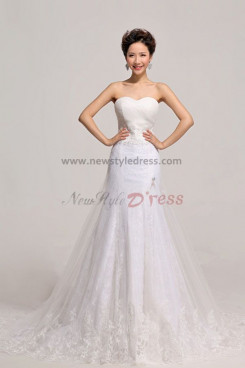 Sweetheart Lace Mermaid Wedding Dresses Chapel Train nw-0083