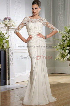 New Style Beach lace sleeves Criss-Cross Chiffon Sheath Half Sleeves Wedding dresses nw-0149
