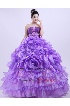 New Style Strapless Floor-Length ball gown Cheap violet flower Sequins Quinceanera Dresses nq-002