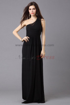 Cheap balck Oblique band Chiffon Chest With beading prom dresses np-0338