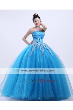 Ocean blue Ball Gown beautiful Bow Chest Appliques Quinceanera Dresses under 200 nq-001