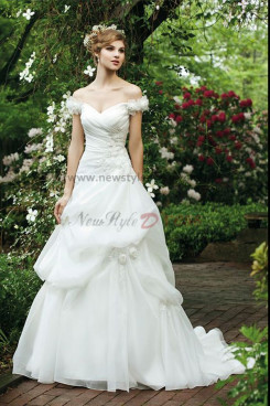 Off the Shoulder Sweetheart Ruched Elegant Good comment wedding dress nw-0244