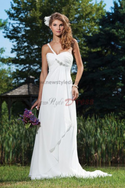 One Shoulder Chiffon Beach Sexy Informal wedding dress nw-0245