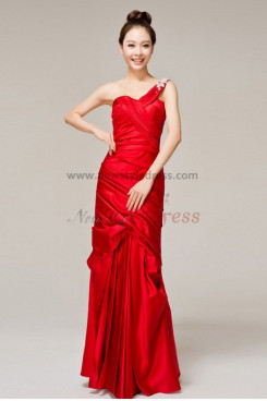 One Shoulder Elegant Draped long prom dress np-0138