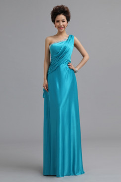 One Shoulder Satin Lake Blue long Bridesmaids Dresses nm-0165