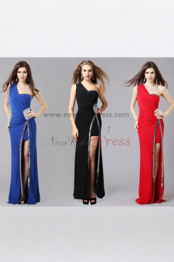 balck One Shoulder Split Front Latest Fashion Sexy evening gown np-0360