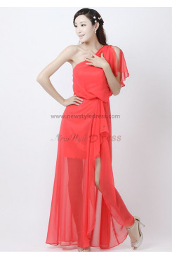 One Shoulder Watermelon red Chiffon Prom Dresses np-0181