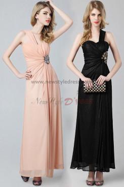 One Shoulder flesh pink/black Bronzing fabric Side slits sexy prom dress np-0355