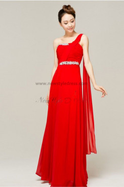 One Shoulder red Chiffon Chest With Crystal Floor-Length Gorgeous Prom Dresses