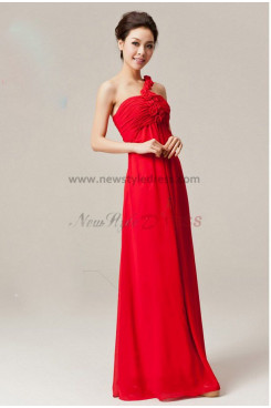 One Shoulder red Chiffon Floor-Length Empire prom dress np-0145
