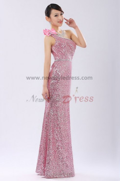 One Shoulder red Sequins Sheath Prom Dresses customize np-0271