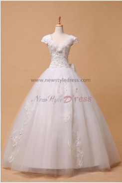 Organza Ball Gown Glamorous Court Train Appliques/Chest Hand-beading Bow Wedding Dresses nw-0085