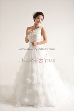 One Shoulder Princess lovely Glamorous Court Train Handmade flower Wedding Dresses nw-0088