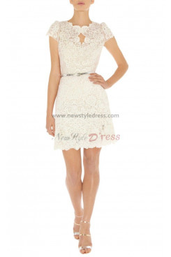 Overall Appliques Above Knee Short Sleeves back or White Jewel Bridesmaids Dresses np-0066