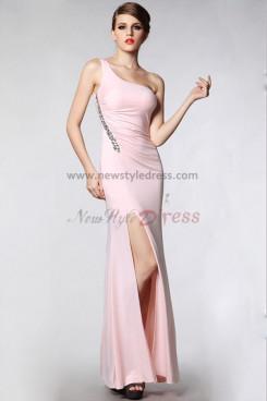 Pearl Pink Oblique band Sheath Glamorous Side slits prom dresses np-0301